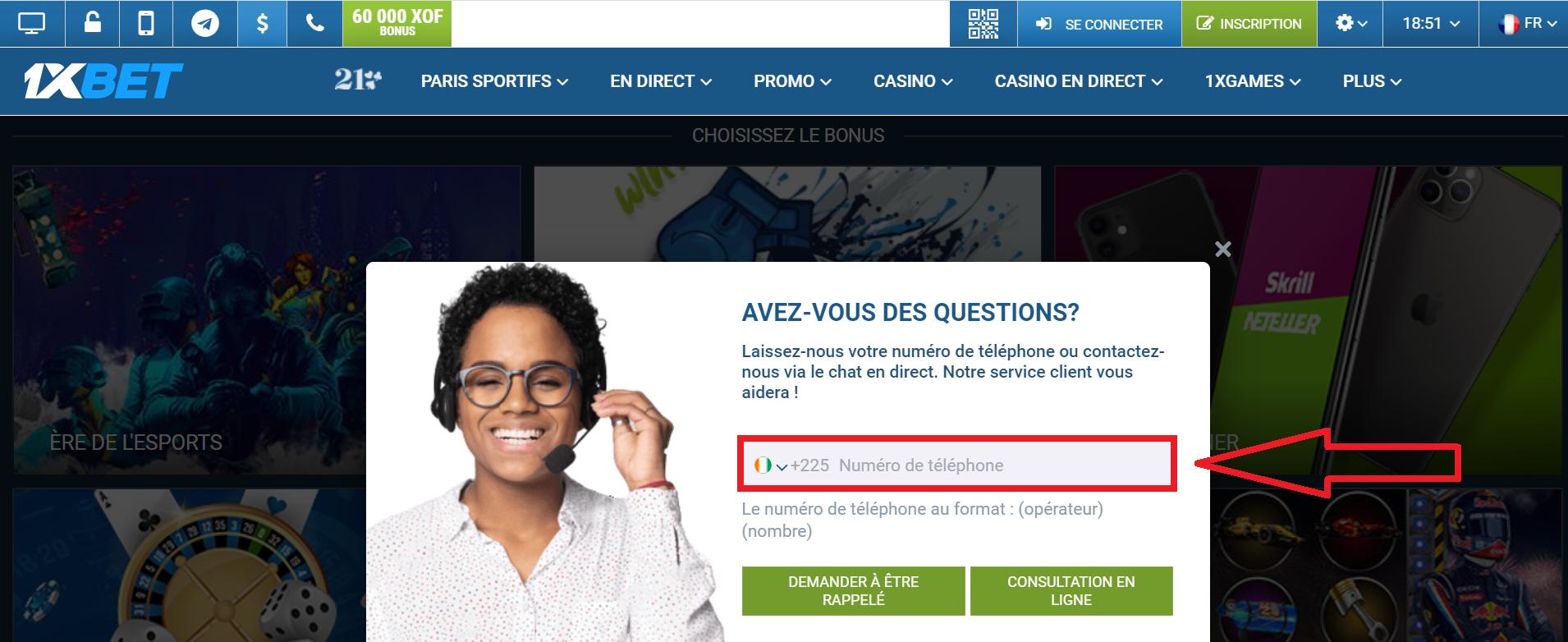 1xBet inscription Côte d'Ivoire: application et création de compte